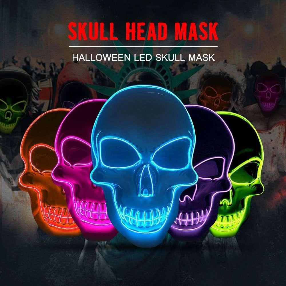 Halloween Mask LED Maske Light Up Party Masks Neon Maska Cosplay Mascara Horror Mascarillas Glow In Dark Masque Luminous Toy