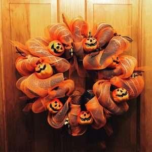Halloween Wreath Scary Skull Pumpkin Door Ornament