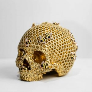 Halloween Honeycomb Resin Skull