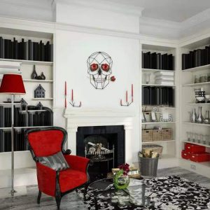Modern 3D Wrought Iron Skull Rose Wall Art